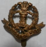 WWI The Middlesex Regiment Brass Economy Cap Badge 1916-1918