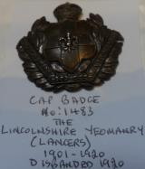 WWI Lincolnshire Yeomanry (Lancers) Blackened Brass Cap Badge 1901-1920