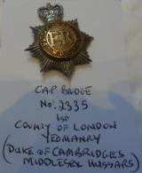 1st  County of London Yeomanry (Duke of Cambridge's Middlesex Hussars) Bi-Metal Cap Badge QC