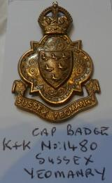 Sussex Yeomanry Brass Cap Badge KC