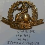 The Norfolk Regiment Brass Economy Version Cap Badge 1916-1918